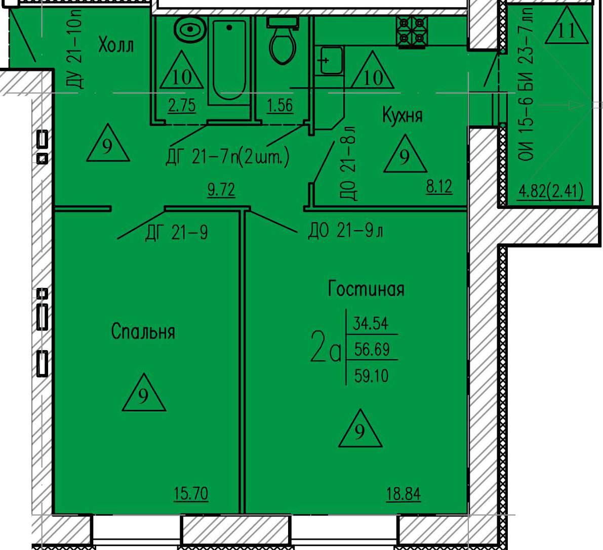 2-комнатная квартира 59.01 м² с раздельным санузлом