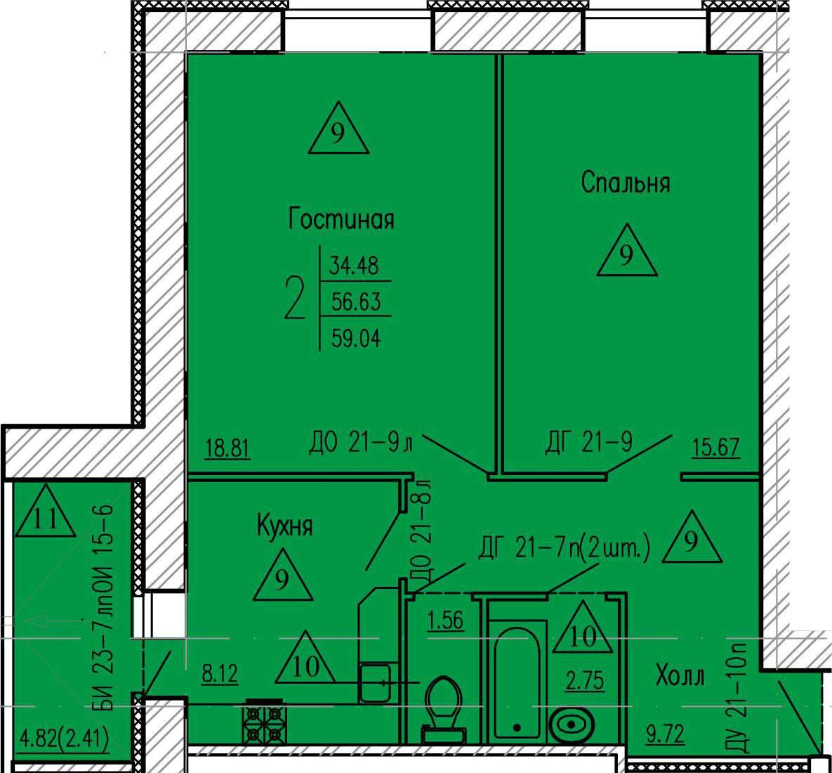 2-комнатная квартира 59.04 м² с просторной лоджией