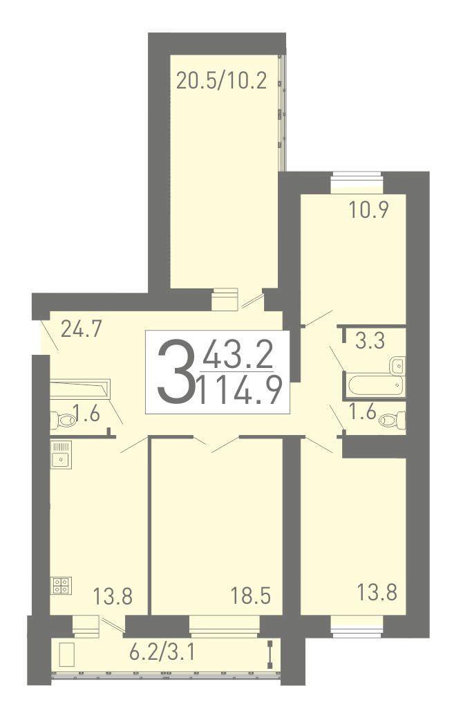 3-комнатная квартира 114.9 м² с просторным холлом