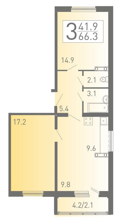 3-комнатная квартира-распашонка 66.3 м² с евро планировкой