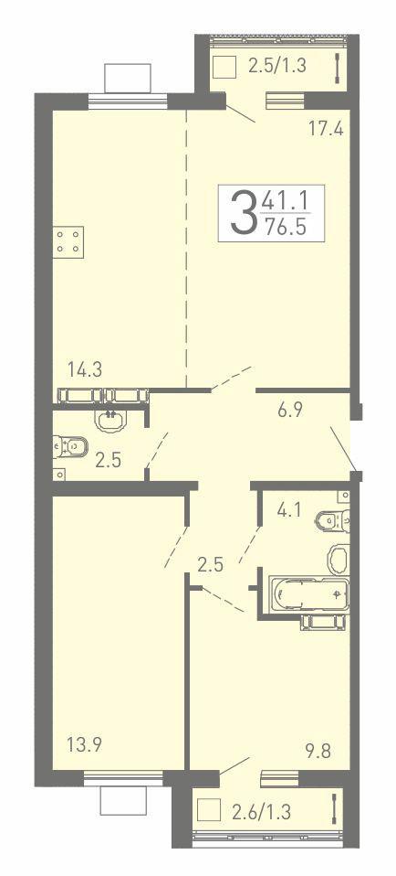 3-комнатная квартира 76.5 м² с просторной кухней-гостиной