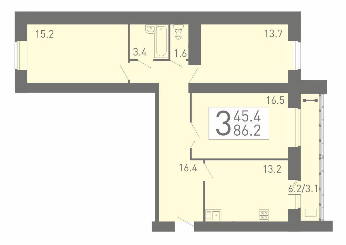 Просторная 3-комнатная квартира 86.2 м² с функциональной лоджией