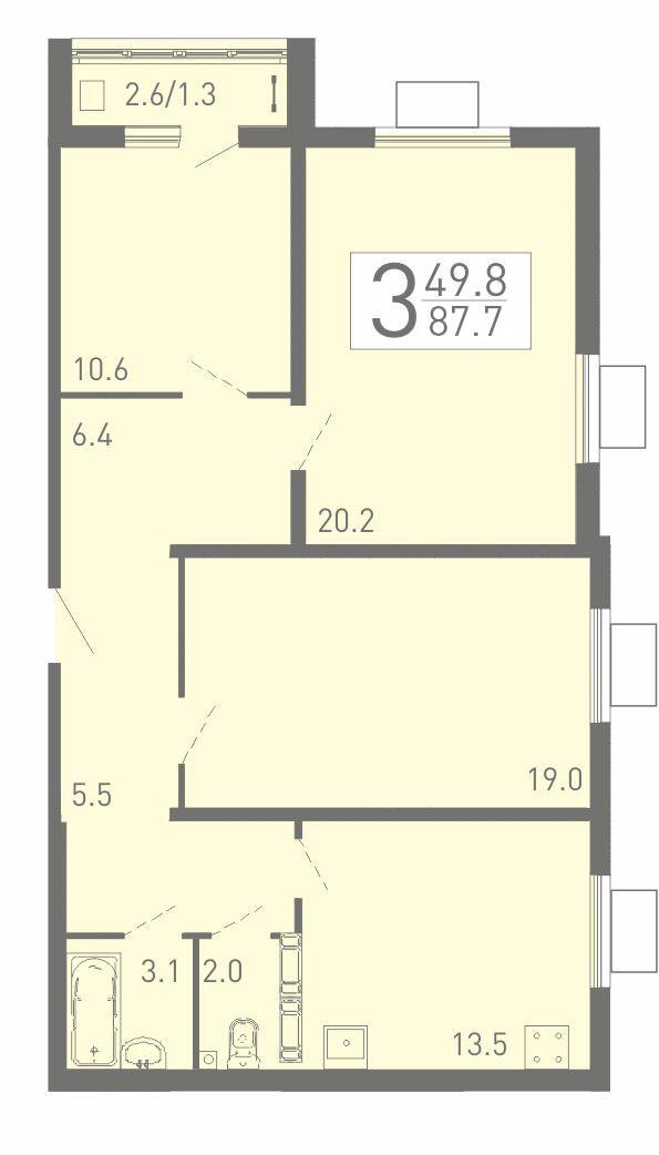 Большая 3-комнатная квартира 87.7 м² с просторными жилыми комнатами