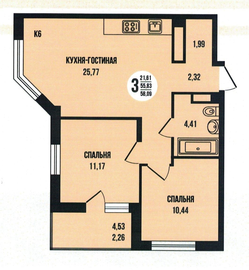 3-комнатная квартира с евро планировкой  58.09 м²