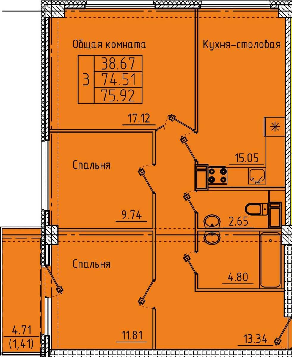 Просторная 3-комнтаная квартира 75.92 м² с двумя санузлами