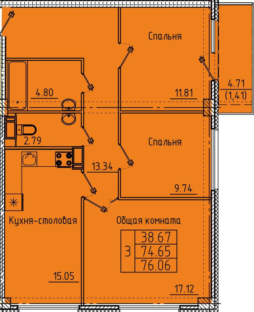 3-комнатная квартира 76.06 м² с просторной кухней столовой