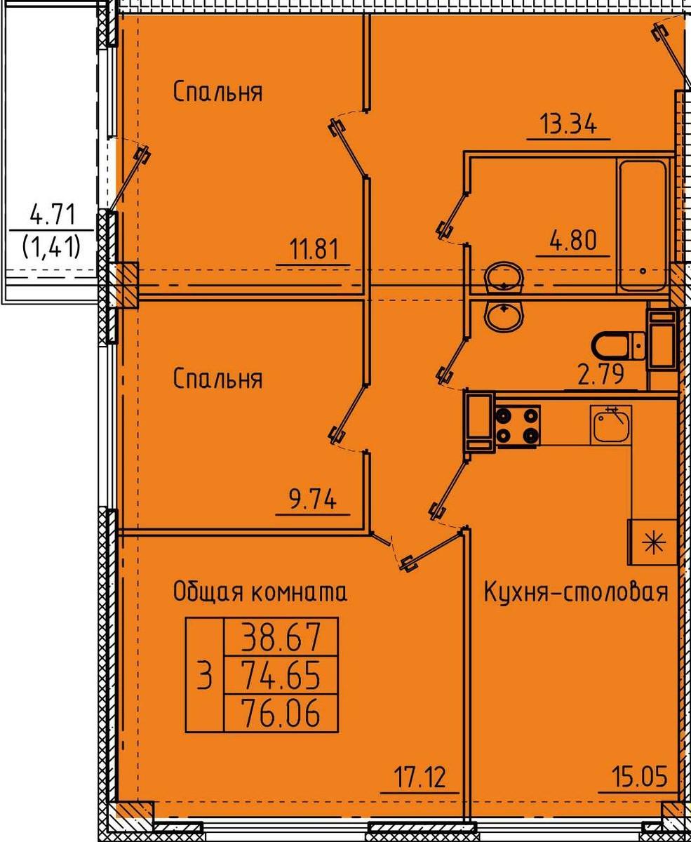 Большая 3-комнатная квартира 76.06 м² с балконом