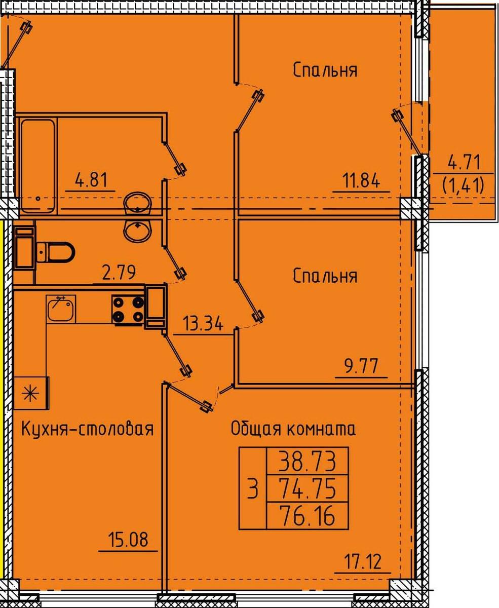 Просторная 3-комнатная квартира 76.16 м² с балконом