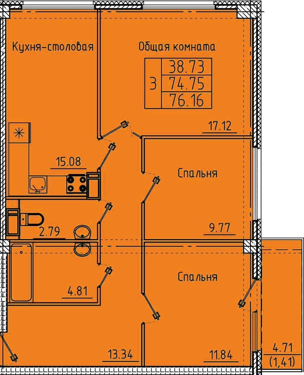 3-комнатная квартира 76.16 м² с просторной кухней-столовой