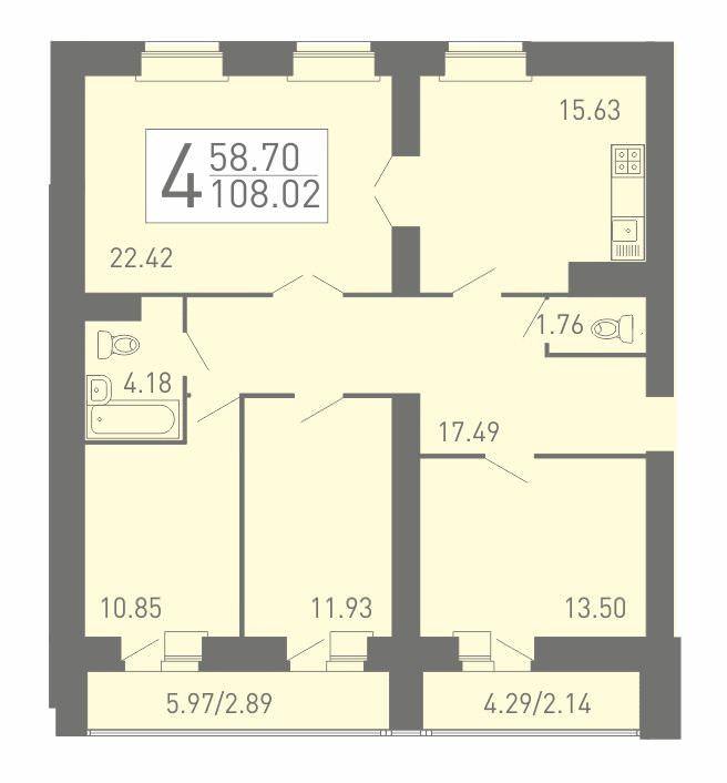 4-комнатная квартира 108.02 м² с двумя санузлами