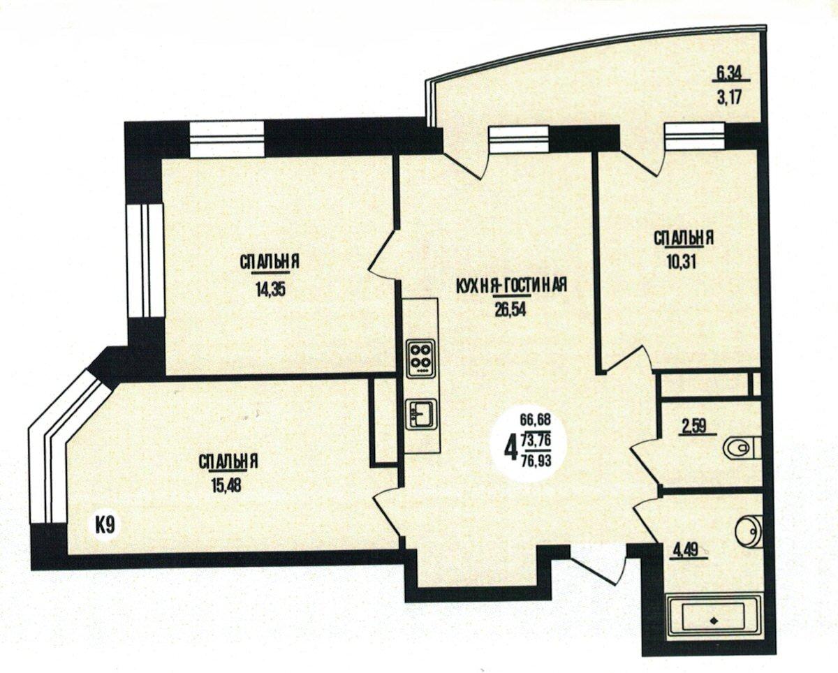 4-комнатная квартира 76.93 м² с кухней-гостиной и тремя изолированными спальнями