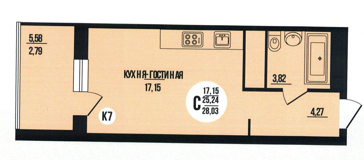 Квартира-студия 28.03 м² с лоджией