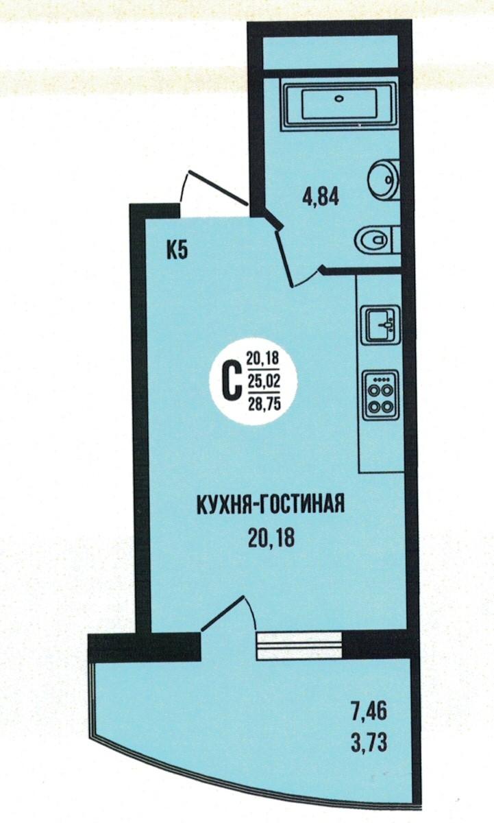 Квартира-студия 28.75 м² с просторной лоджией