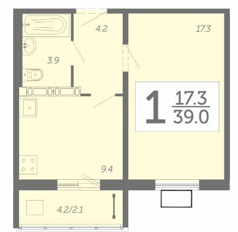 1 комнатная квартира 39 м² с просторной лоджией