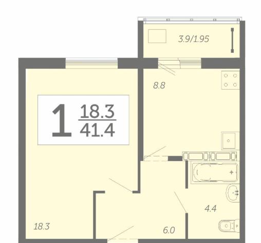 Просторная 1-комнатная квартира 41,4 м² с лоджией