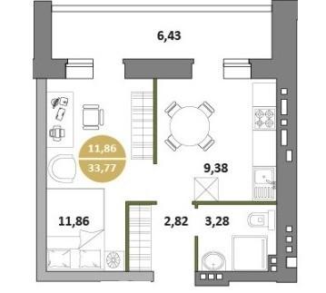 1-комнатная квартира 33.77 м² с большой лоджией