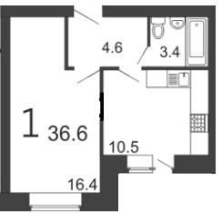 Уютная 1-комантная квартира 36.6 м²