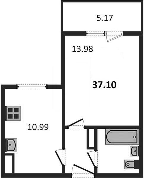 1-комнатная квартира 37.10 м² с балконом