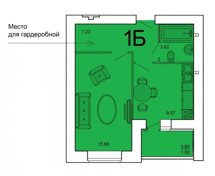 1-комнатная квартира 37.88 м² с местом для гардеробной