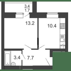 1-комнатная квартира 39.8 м² с лоджией
