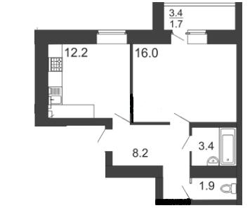 1-комнатная квартира 46.8 м² с раздельным санузлом