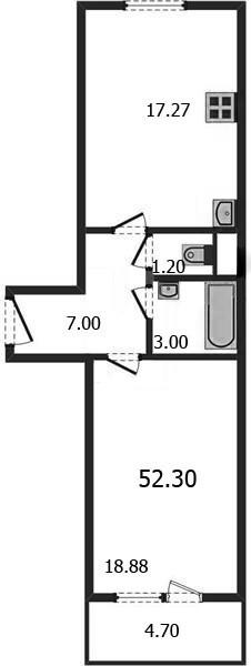 Просторная 1-комнатная квартира-распашонка 52.3 м²