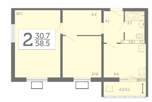 2-комнатная квартира 58,5 м² с лоджией из кухни