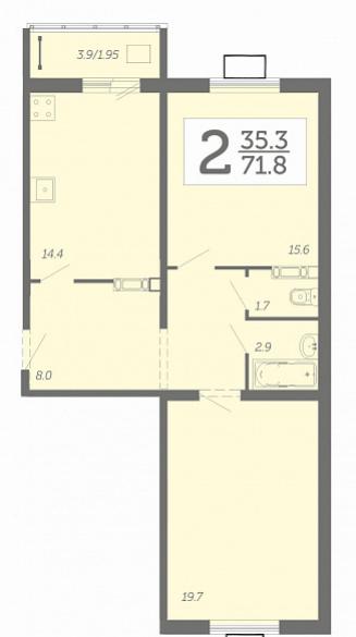 Просторная 2-комнатная квартира 71,8 м² с раздельным санузлом