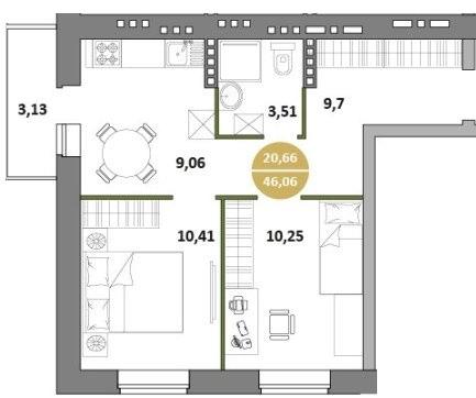 2-комнатная квартира 46.06 м² с балконом из кухни