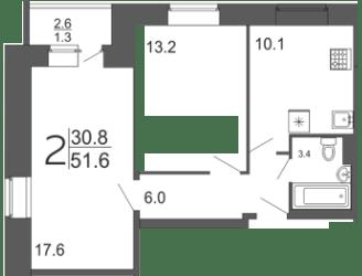 2-комнатная квартира  51 м² с лоджией