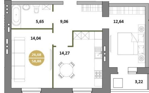 2-комнатная квартира 58.88 м² с лоджией из спальни