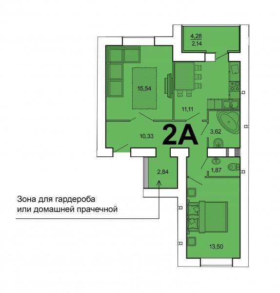 2-комнатная квартира 61 м² с лоджией из кухни и гардеробной