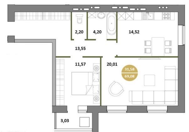2-комнатная квартира 69.08 м² с раздельным санузлом