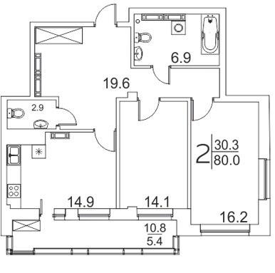 Просторная 2-комнатная квартира 80 м² с двумя санузлами