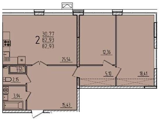 2-комнатная квартира 82,93 м² с просторной кухней-гостиной и двумя изолированными спальнями