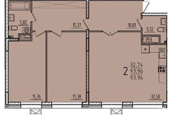 2-комнатная квартира 93.96 м² с кухней-гостиной и двумя изолированными спальнями