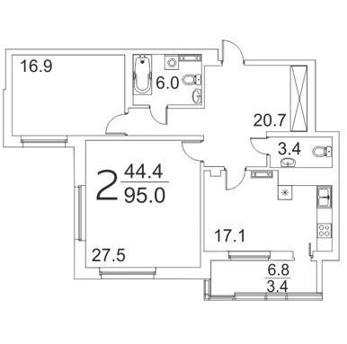 Просторная 2-комантная квартира 95 м² с двумя санузлами