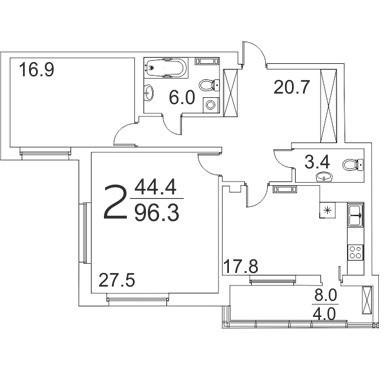 Просторная 2-комнатная квартира 96.3 м² с лоджией из кухни