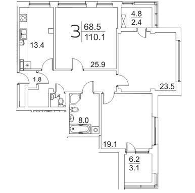 3-комнатная квартира 110.1 м² с двумя лоджиями