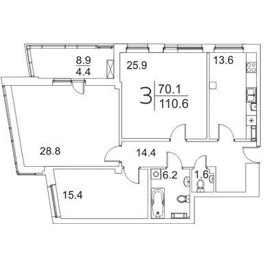 3-комантная квартира 110.6 м² с просторными комнатами