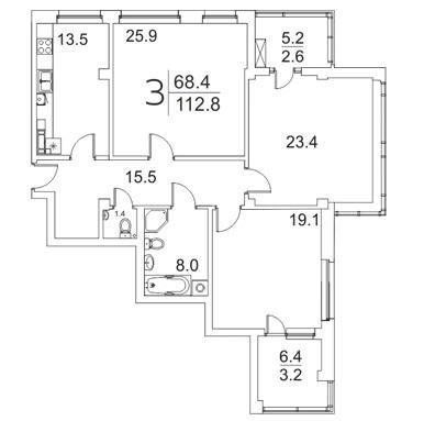 3-комантная квартира 112.8 м² с двумя лоджиями