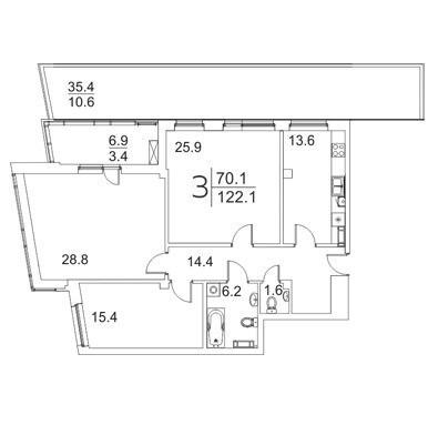 Просторная 3-комнатная квартира 122.1 м²