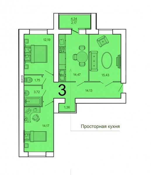 Просторная 3-комнатная квартира 79 м² с лоджией из кухни