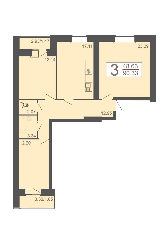 3-комнатная квартира 90.33 м² с просторными комнатами