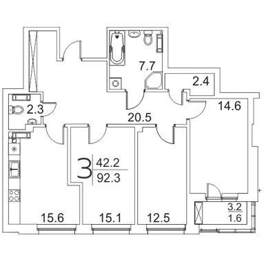 3-комантная квартира 92.3 м² с двумя санузлами