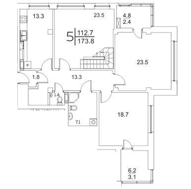 5-комнатная квартира 173.8 м²