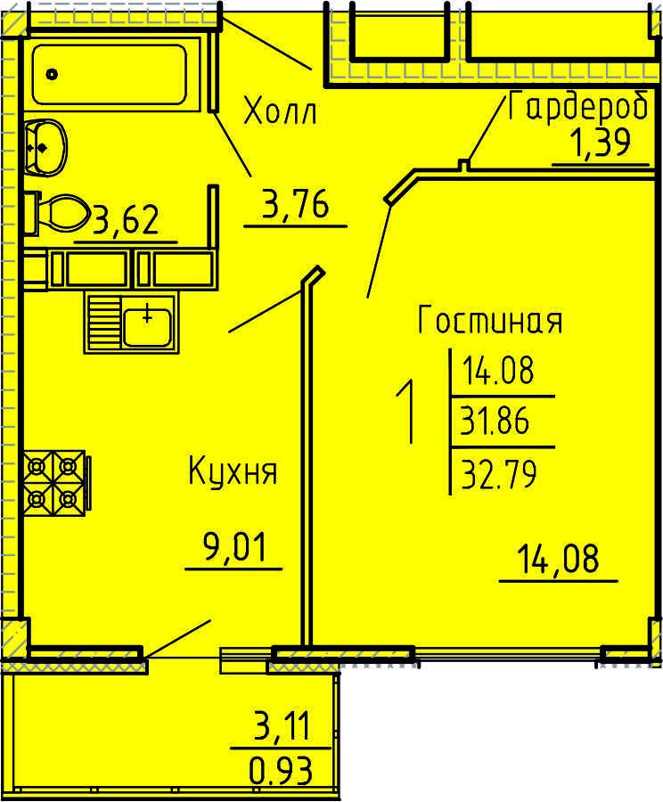 1-комнатная квартира 32.79 м² с гардеробной