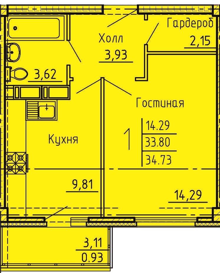 1-комнатная квартира 34.73 м² с гардеробной и балконом