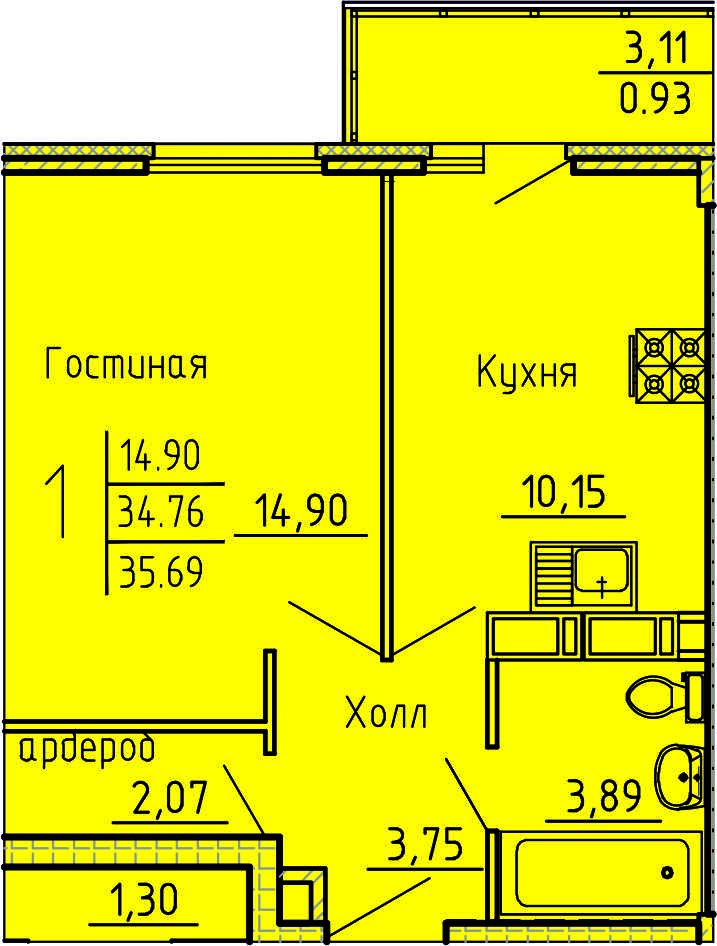 1-комнатная квартира 35.69 м² с удобным балконом из кухни