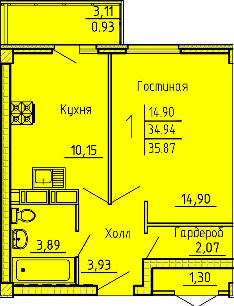Просторная 1-комнатная квартира 35.87 м² с гардеробной